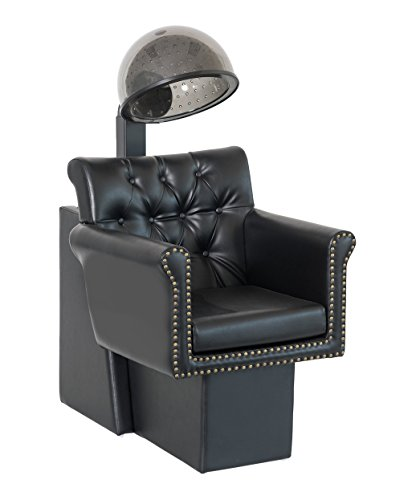 BR Beauty Chelsea Hair Dryer Chair with Dryer Combination for Salons and Stylists, Tufted Seat-Back, Exposed Brass Nail Head Trim Adds Old-School Glamour, Soft Wide Cushion, NIN-9902DC&HL-1500