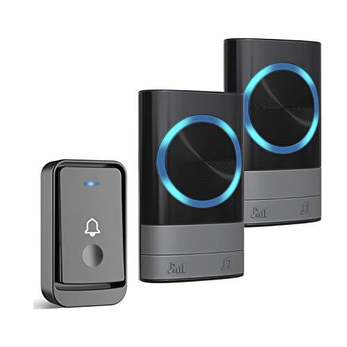 Dilusi Campanelli Wireless,Campanello Senza Fili Portatile Wireless Doorbell, 45 Suonerie, Indicatori LED, Portata 300m, 4 Volumi Selezionabili (1 Trasmettitore + 2 Ricevitori, Nero)