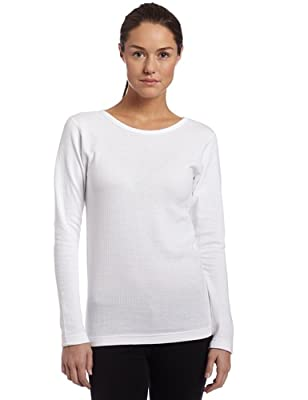 Duofold Women's Midweight Long Sleeve 2 Layer Crew With Moisture Wicking,White,Medium