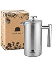 Groenenberg French Press cafetière rvs | 0,35 - 1 liter (2-5 kopjes) | french press thermo verkrijgbaar in 3 maten | Cafetière dubbelwandig metaal | Coffee maker incl. reservefilters & handleiding | Coffee Press