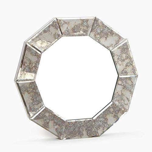 Household Geometrisch frame om op te hangen aan de muur, spiegel voor badkamer, spiegel 56CM zilver.