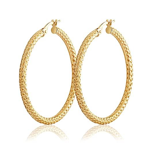 NKlaus Par de pendientes de aro de 35 mm de oro amarillo 375 de 9 quilates para mujer brillantes pendientes grandes con patrón 3741