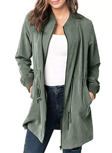 Blibea Womens Casual Outwear Jackets Rib Collar Long Sleeve Casual Zipper Fall Coats Windbreaker X-Large Army Green