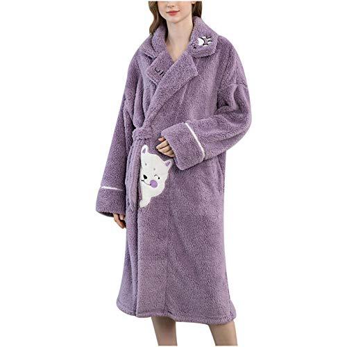 Koaby Damen Mode lässig Nachtwäsche Flanell Print Tasche Langarm Long Fashion Pyjama Geschenke für Frauen