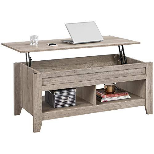 YAHEETECH Lift Top Coffee Table with Hidden Storage Compartment & Lower Shelf, Lift Tabletop Farmhouse Table for Living Room Office Reception, 47.5in L, Gray