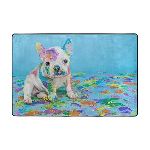 KiuLoam Area Rug French Bulldog Animal Cute Non Slip Comfort Mat Floor Carpet Rugs for Living Room Bedroom Study Room 6' x 4'