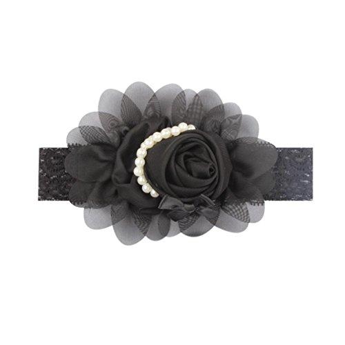 Dinglong BéBé Bandeau Floral Fait à La Main Bricolage Enfant En Bas âGe Accessoires Pour Cheveux Fille Nouveau-Né Rose Perle Turban Bandage Enfants Princesse Bandeau (E)