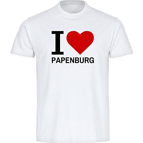 Herren T-Shirt Classic I Love Papenburg - weiß - Größe S bis 5XL, Größe:XXL