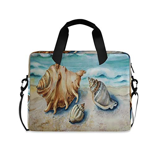 MAHU Laptop Case Bag Ocean Beach Seashell Pattern Laptop Sleeves Briefcase 13 14 15.6 inch Computer Messenger Bag with Handle Strap for Women Men Boys Girls