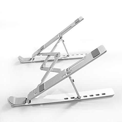 Fulhom Aluminium Laptop Stand - Height Adjustable, Lightweight & Portable - Universal for all Tablets & Laptops (Macbook, HP, Dell, and more) 10 to 17.3' screens - with NEW diamond pivot