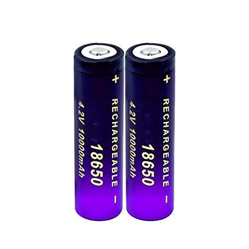 MeGgyc Batteria 2PCS 3.7v Batteria 10000mAh Batterie al Litio Ricaricabili agli ioni di Litio per Torcia a LED per Auto