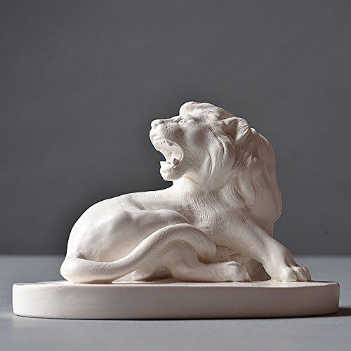 Löwe Skulptur aus hochwertigem Zellan, echte Handarbeit Made in Germany, Büste in weiß, 10cm