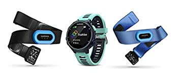 Garmin Forerunner 735XT Tri-Bundle Multisport GPS Running Watch with Heart Rate Includes HRM-Tri and HRM-Swim Monitor Midnight/Frost Blue