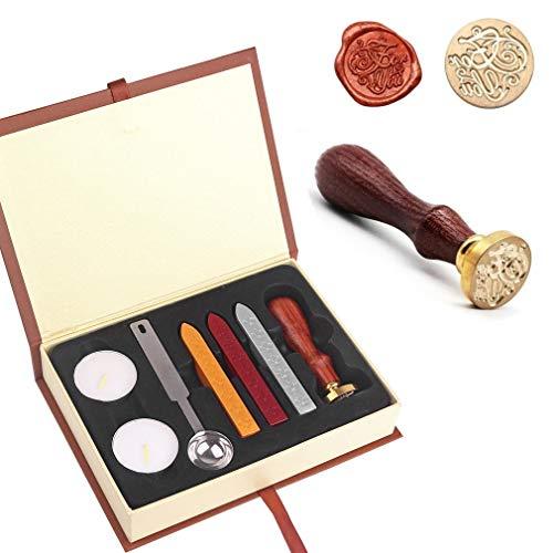 JZK Kit scellage cire: timbre + Bâtons de cire d'étanchéité + lumières de thé + cuillère + boîte de cadeau, vintage Ensemble d'étanchéité pour invitation/lettre/enveloppe/carte de voeux, etc.
