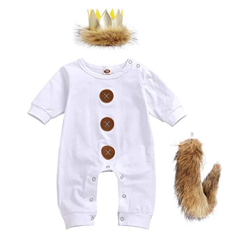 Baby Boys Girls Wild One 1st Birthday Photography Outfit Set Little Lion Costume Long Sleeve Romper Jumpsuit Pants with Fur Party Hat Crown and Tail 3PCS Cake Smash Photo Props White+Brown 0-3 Months