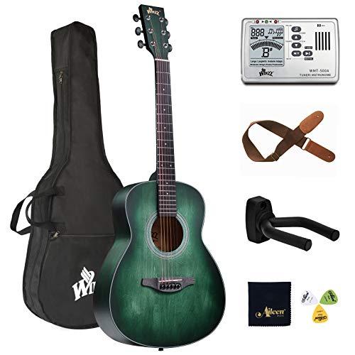 Winzz Akustikgitarre 3/4 Anfänger, 36 Zoll Westerngitarre Set Blau-grün für Junge Einsteiger mit Gitarre Metronom Stimmgerät, Gitarrenhalter