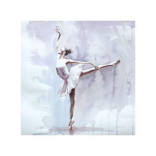 Lienzo de Bailarina con Bastidor de Madera Blanco de 80x80 cm - LOLAhome
