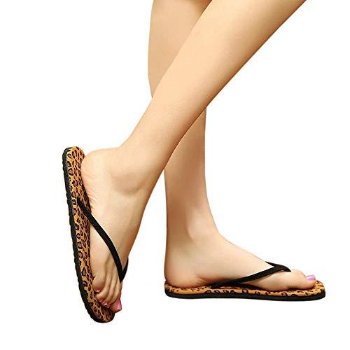bjyxszd Sandalias Deportivas para Hombre,Zapatos de Playa y Piscina Unisex Adulto,Leopardo Flip Flops Chaussure Sandalias y Zapatillas Nonliz Playa de pie de Caucho-Café_40