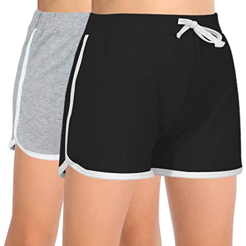 GORLYA 2 Pack Girl's Active Wear Play up Workout Gym Athletic Sport Running Casual Dolphin Shorts (GOR1044, 7-8Y, Black+Gray)