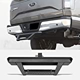 Stehlen 733469495321 Universal Matte Black Hoop Style Trailer Tow Mount Rear Hitch Drop Step Bar Bumper Guard For 2' X 2' Towing Receiver Tube
