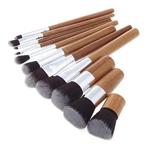 Victor Johnsond Pinceau de maquillage 11pcs manche en bambou brosse de maquillage pôle en bambou maquillage brosses costume pôle en bambou avec sac top qualité ##F4556 (Color : Brass)