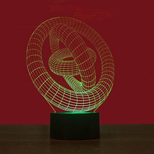 Yujzpl 3D Illusion Lampe Led Nachtlicht Mit 7 Farben Flashing & Touch-Schalter,Für Schlafzimmer Kinder Weihnachts Valentine Geburtstag Geschenk[Energieklasse A++]Schnalle