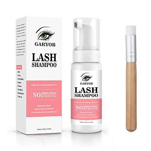 GARYOB Wimpernverlängerung Shampoo, Wimpernschaum Cleanser, weiches kraftvolles Augenlid-Waschschaum Wimpernverlängerung Lash Shampoo Tool 60ml