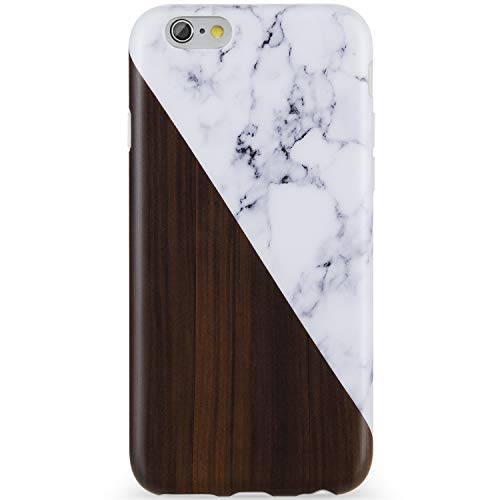VIVIBIN iPhone 6 Plus Case,iPhone 6s Plus Case,Cute Grey Marble Red Wood for Women Girls Clear Bumper Best Protective Soft Silicone Rubber Matte TPU Cover Slim Fit Phone Case for iPhone 6 6s Plus-157