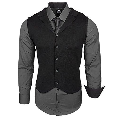 Business Herren Hemd Weste Krawatte Set Anzug Smoking Sakko Herrenanzug Slim fit Hemden Freizeit Hochzeit Hemden B-40-444, Größe:XL, Farbe:Anthrazit