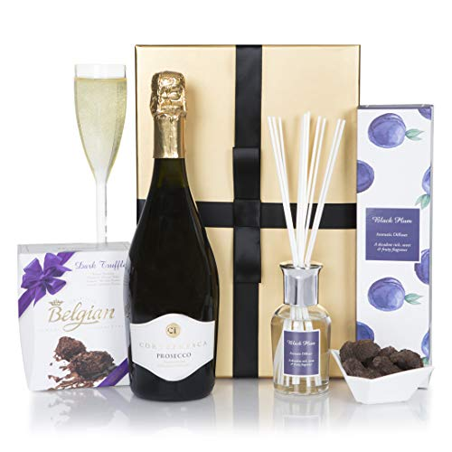 Prosecco & Chocolate Hamper - Prosecco & Chocolate Truffles Hampers For Birthday Gift - Premium Wine Gift Box Range For Her