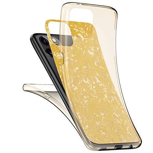 JAWSEU Kompatibel mit iPhone 11 Pro Max Hülle 360 Grad Handyhülle, Muschel Muster Ultradünn Silikon Crystal Soft TPU Case Full Schutz Cover Vorne und Hinten Schutzhülle für iPhone 11 Pro Max,Gelb