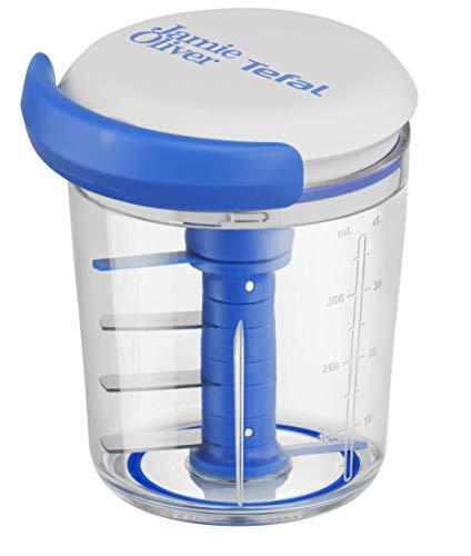 Tefal K16443 Jamie Oliver Chop & Shaker | ohne Strom | Fassungsvermögen: 450 ml | Multizerkleinerer | Universalzerkleinerer für Gemüse, Obst, Zwiebeln, Nüsse, Knoblauch | weiß/blau