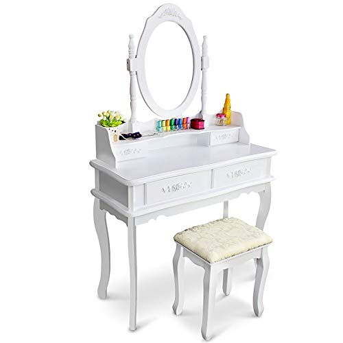 European Style White Dressing Table,Vanity Table Set With Dressing Stool & Mirror,4 Drawers Makeup Table For Women Girl Bedroom Makeup Organizer-White 75x40x142cm(30x16x56inch)