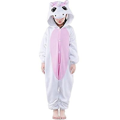 Conjunto de pijama-disfraz, mameluco, de animal, franela, para niña o niño, regalo de Navidad rosa unicornio rosa Hauteur 120-130 cm(Etiquette Talla 105)