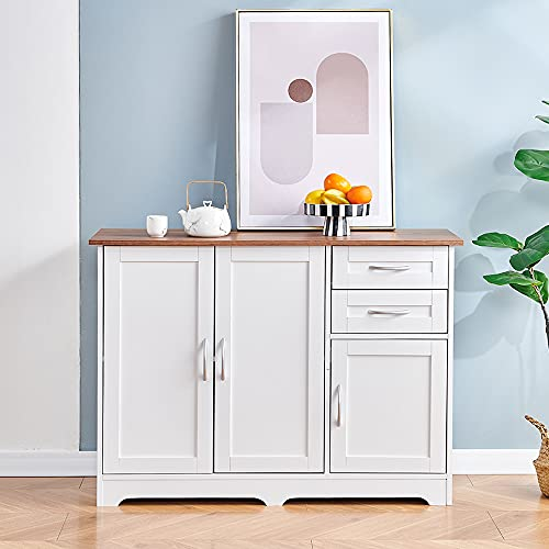 2 Doors Kitchen Sideboard Buffet White Wooden Storage Cabinet Console Table with Drawers Shelves for Dining Room, Floor Freestanding Modern Unit Storage Cupboard Home Office (White)