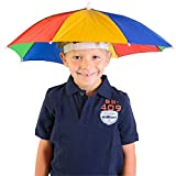 Watermark Umbrella Hat, Hands Free, Rainbow Colorful, Adjustable Elastic, Size Fits All Ages, Kids, Men & Women (Pack of 1)-20 Inch