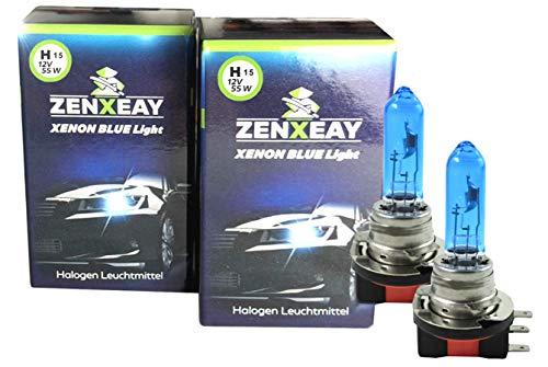 ZENXEAY Bombillas halógenas H15 con aspecto de xenón, luz diurna, luz larga, 55 W, 12 V, 2 unidades