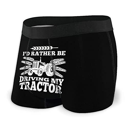 Yaxinduobao Ich würde Lieber Meinen Traktor Fahren Männer Atmungsaktive Boxershorts Elastische Unterwäsche mit Flexbund