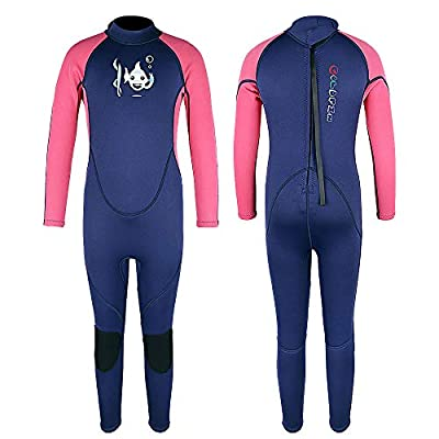 Kids Wetsuits Thermal Swimsuit, 2mm Neoprene Back Zip Keep Warm for Boys Girls Toddler Youth Swimming,Diving,Surfing (Navy/Pink, 12)