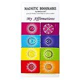 MAGNERDS Conjunto de Marcadores Magnéticos de Afirmaciones Positivas (en inglés) Tema de Chakra, Diseño Original, 8 Marcalibros de Colores con 1 Tarjeta de Instrucciones
