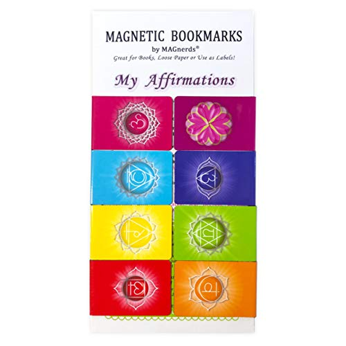 Positive Affirmations Chakra Magnetic Bookmarkers, Original Designs, Set of 8, Motivational Gratitude Page Markers for Women and Men