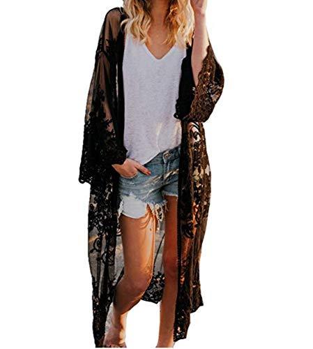 Wide.ling Damen Bohemien Strand Kimono Strickjacke Frau Einfarbig Perspektive Lange Ärmel Übergroß Lange Cardigan Kimono Mantel Blumen Lose Outwear (Schwarz, ONE Size)