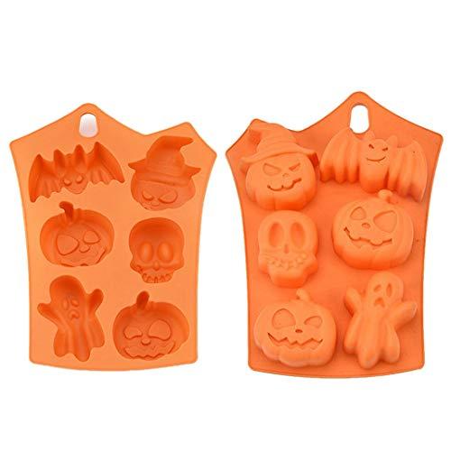 iSuperb 4 Stück Halloween Silikonform Backform Muffins Totenkopf Kürbis Fledermaus Gespenst kuchenform Halloween Molds für Schokolade Kekse Süßigkeiten Seife (4 Halloween Silikonform)