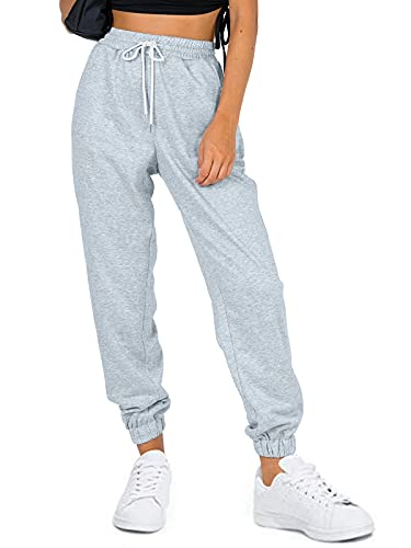 AUTOMET Women's Fall Cinch Bottom Sweatpants High Waisted Athletic Y2K Joggers Lounge Pants with Pockets Grey