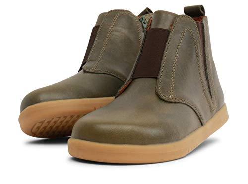 Bobux Kid+ Signet Boot – Une chaussure en cuir de semelle flexible. Pratique pour marcher comme des chaussettes infrarouges. Idéal pour toutes les situations d'automne et d'hiver. - - Olive, 30 EU EU