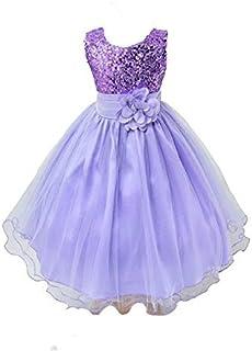 Vestido de dama de honor para niñas, con lentejuelas, formal, para boda, fiesta, bautizo, ropa de niños, vestido de encaje...