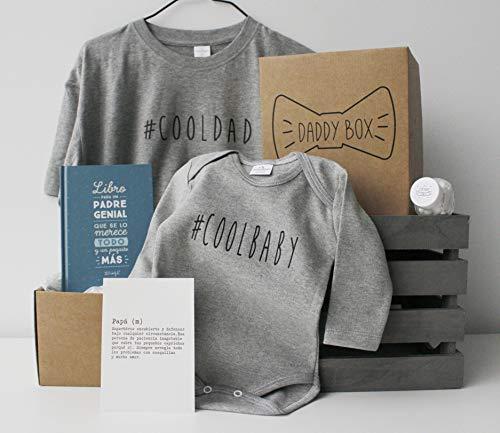 Caja regalo papá y bebé - Daddy Box - Regalo original para padres - Incluye body bebé 3-6 manga larga 100% algodón y camiseta papá a juego - Regalo día del padre y padres primerizos (XL)