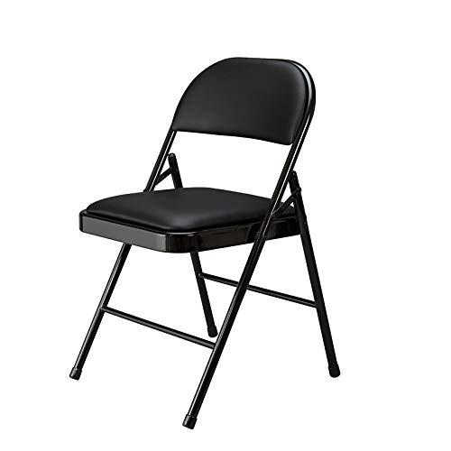 Silla plegable con asiento de tela acolchada y marco de metal de acero resistente y respaldo para casa, jardín, oficina, ordenador