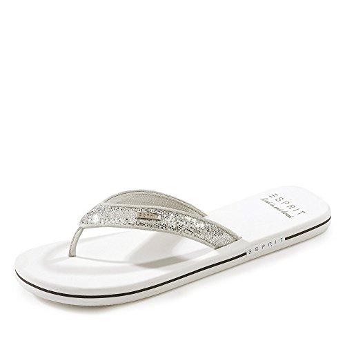 Esprit 018EK1W043-100 Glitter Thongs Damen Pantolette mit geschäumter Laufsohle, Groesse 41, weiß