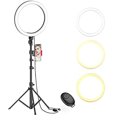 "10"" Selfie Ring Light with Tripod Stand & Phone Holder for Live Stream/Makeup, Dimmable Led Camera Beauty Ringlight for YouTube TikTok/Photography Compatible for iPhone and Android Phone(Upgraded) from Erligpowht"